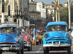 Cars start to move from the stop line on road in Havana Stock Footage