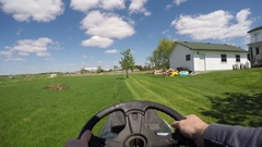 Lawn tractor chesty pov go pro 4k Stock Footage