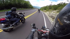 Motorcycle riders in the mountains Stock Footage