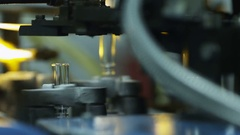 Finished glass products at the the glass-blowing factory Stock Footage