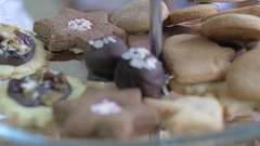 Beautiful handmade cookies in a pastry shop Stock Footage