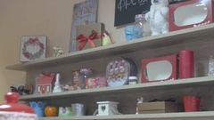 Beautiful shelves full of homemade Christmas gifts in a pastry shop Stock Footage