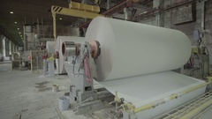Large paper roll factory-turning machine Stock Footage