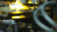 Equipment at the glass-blowing plant Stock Footage