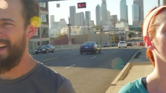 A couple running and working out together in urban environment, slow motion. Stock Footage