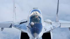 Fighter pilot in flight. Close view of Bulgarian MiG-29 cold war jet. Stock Footage