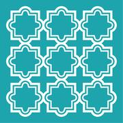 Arabic seamless pattern set - Islamic design, turquoise and white Stock Illustration