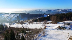 Aerial view of Winter mountains landscape, ski slope Stock Footage