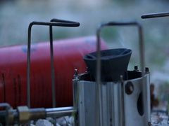A mini portable gas stove burning at a campsite. Stock Footage