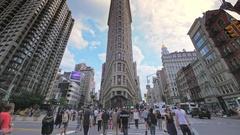 Timelapse Manhattan street traffic people crossing cars NYC Flatiron Building Stock Footage