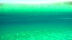 Beautiful green underwater rippled water sea sandy diving explore background Stock Footage