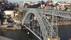 Dom Luis Bridge across river Douro, Porto Portugal, December 2016 Stock Footage