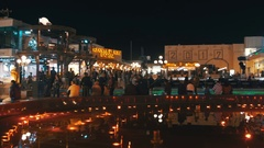 Soho Square at Night in Sharm El Sheikh, Egypt Stock Footage