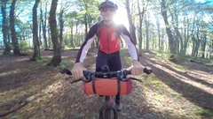 POV of a man mountain biking through a forest in a European mountain range. Stock Footage