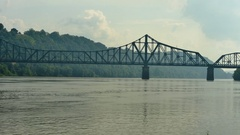 Time lapse of the Ohio River and a train bridge in Beaver County, Pennsylvania Stock Footage