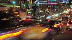Timelapse night NYC accelerated busy street traffic commuting cars vehicles Stock Footage