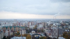 Russian industrial district - aerial panorama of autumn city in cloudy sky Stock Footage