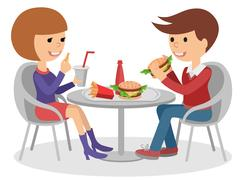Girl and boy eating fast food. Vector illustration of a people at table with Piirros