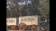 Vintage 16mm film, 1940 Nevada Las Vegas death valley mule team wagon on display Stock Footage