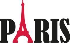 Paris word with eiffel tower Stock Illustration