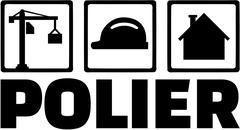 Foreman icons. Crane, hard hat, site. German word. Stock Illustration