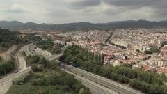 Aerial pan drone Terrassa Sant Llorenç Stock Footage