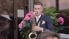 A young saxophonist Stock Footage