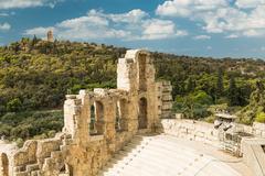 Amphitheater in Acropolis, Athens Greece Stock Photos