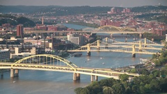 Shot of Allegheny River and its bridges in Pittsburgh, Pa Stock Footage