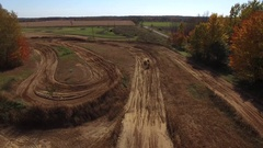 Aerial dirt bike jumps under drone amazing view 4k Stock Footage