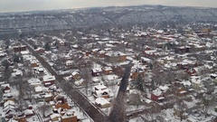 Winter aerial of Beaver, Pennsylvania featuring the Ohio River Stock Footage