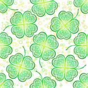 Seamless Pattern, Green Clover Stock Illustration