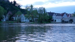 View on the river Woernitz and the city of Harburg Stock Footage