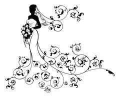 Bride Silhouette Bouquet Wedding Concept Stock Illustration