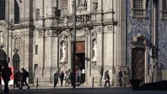 View of Church of Saint Ildefonso, Batalha Square, Porto Portugal Stock Footage