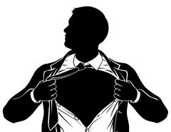 Superhero Business Man Tearing Shirt Showing Chest Stock Illustration