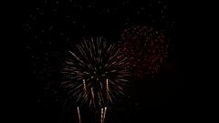 New year celebration multiple spectacular colorful fireworks Stock Footage