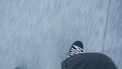 Feet skating on Frozen Pond Ice Stock Footage