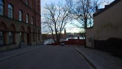 POV Monteliusvägen walking path getting close to City Hall center of Stockholm Stock Footage
