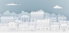 Paper Houses Row Stock Illustration
