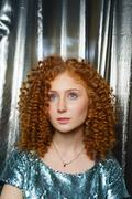 Beauty young woman with curly big and long hair. Permed . Glamour lady,  Girl on Stock Photos