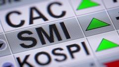 The Swiss Market Index (SMI) is Switzerland's. Up. Looping. Stock Footage