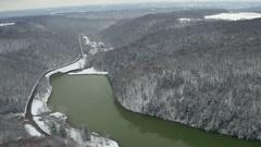 Aerial shot of Western Pennsylvania Park in Winter Stock Footage