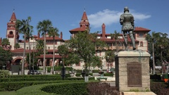 Old town trolley tour, Flagler College, St Augustine, Florida, USA Stock Footage