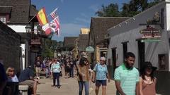 Tourists visit St George Street, St Augustine, Florida, USA Stock Footage