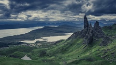 Dramatic cloud over Old Man Storr, Scotland, 4k, timelapse Stock Footage