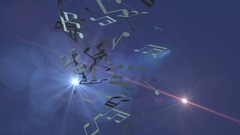 Background with musical notes and optical flare Stock Footage