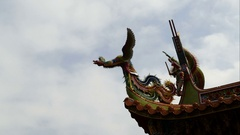 Rooftop sculpture on Temple in Tamsui, time lapse Stock Footage