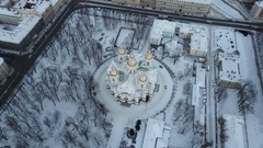 Aerial View: St. Nicholas Naval Cathedral bird's eye view in winter sunset, SPb Stock Footage