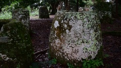 Detail of the jars at the Plain of Jars,  Laos Stock Footage